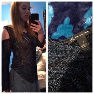 INC Sheer Metallic Blue Cold Shoulder Sweater